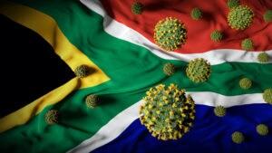 S African flag with coronavirus overlay