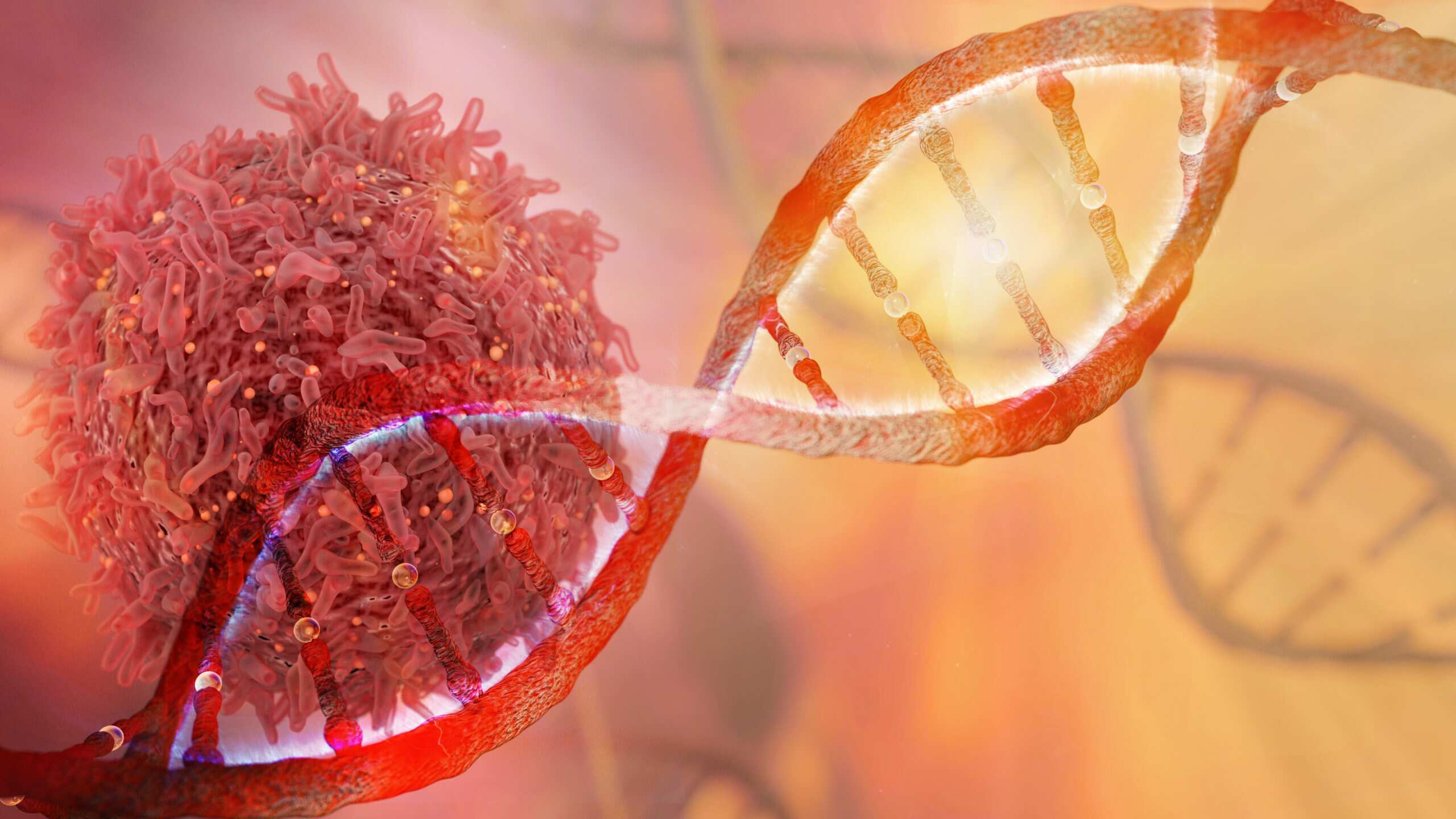 A graphic representing immunooncology research shows a cell and a double helix of DNA