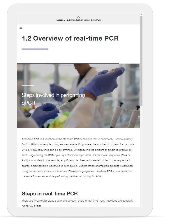 A screenshot shows Module 1.2 of the qPCR handbook