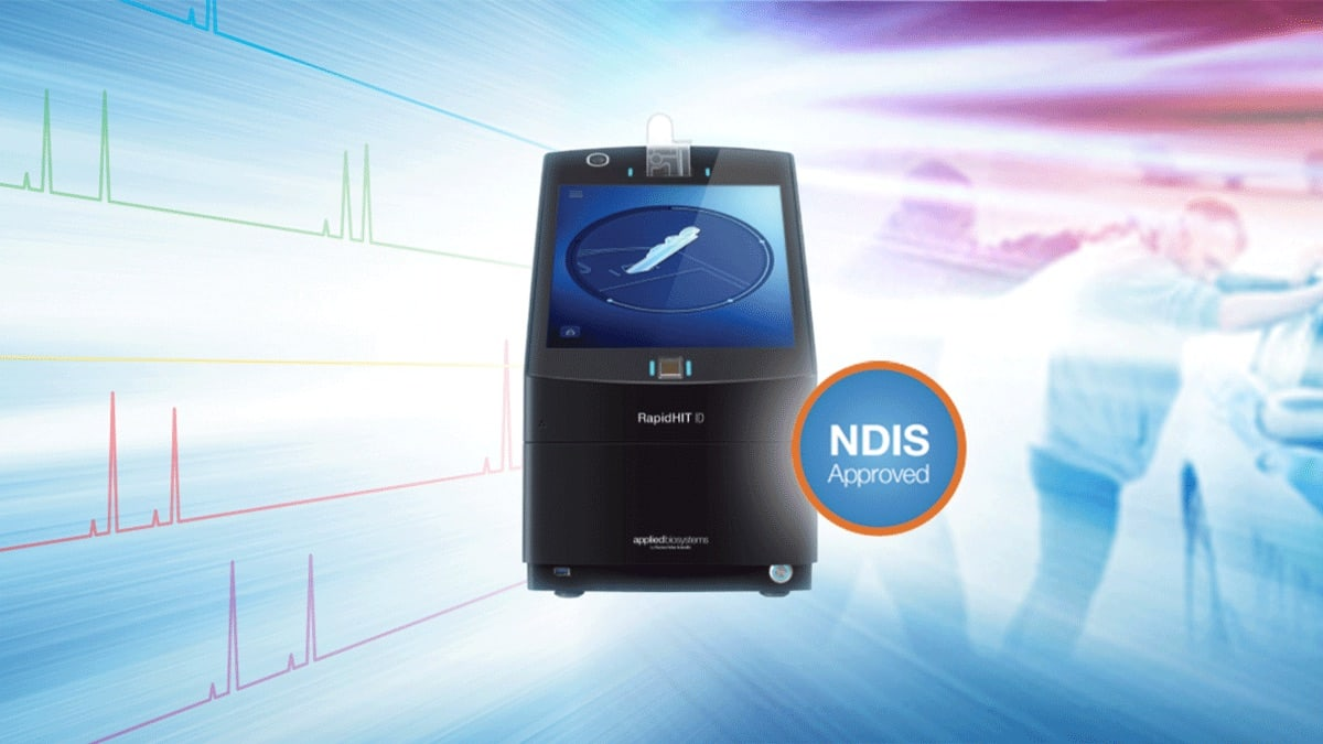 A graphic shows the RapidHIT ID DNA Booking system with an NDIS Approved badge