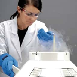woman with cryo container