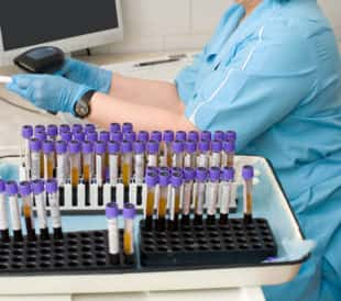 Nurse feeds data of test tubes with blood for analysis into the database. Image: withGod/Shutterstock.com.