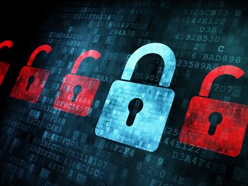 Security concept: Lock on digital screen, contrast, 3d render. Image: Maksim Kabakou/Shutterstock.com.