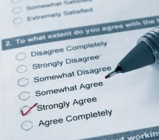 Macro of a business survey, with strongly agree checked. Image: zimmytws/Shutterstock.com.