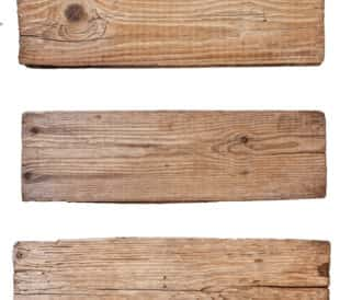 Oak wood planks, isolated on a white background