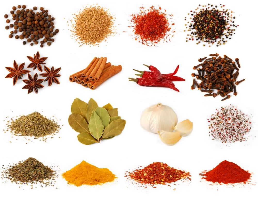 herbs and spices isolated on a white background