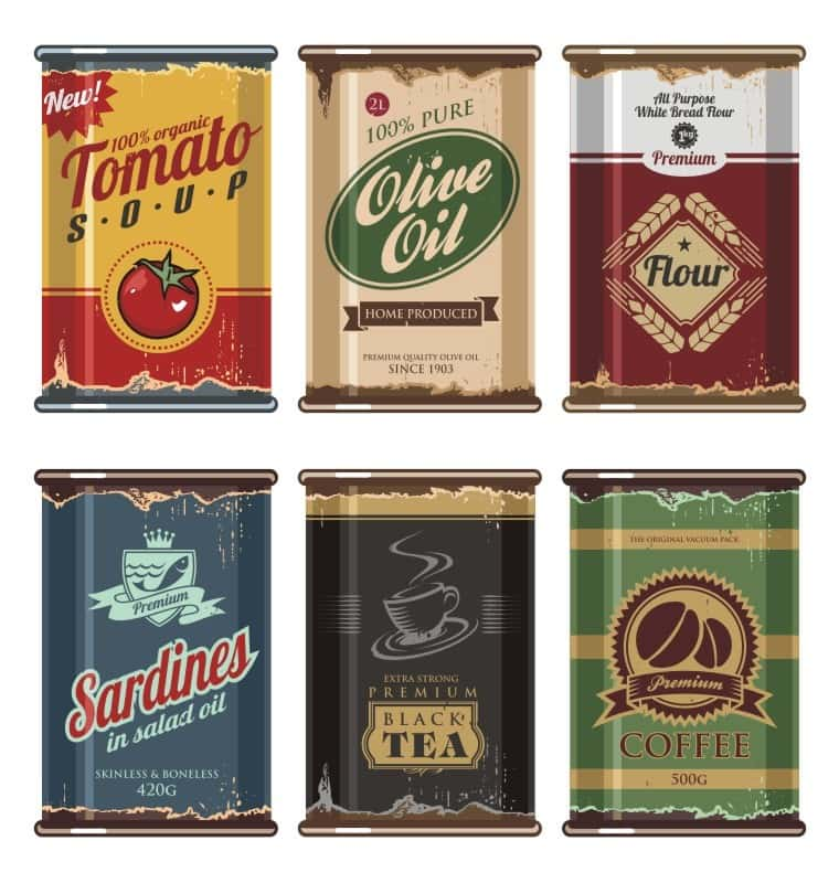 Vintage cans on a white background