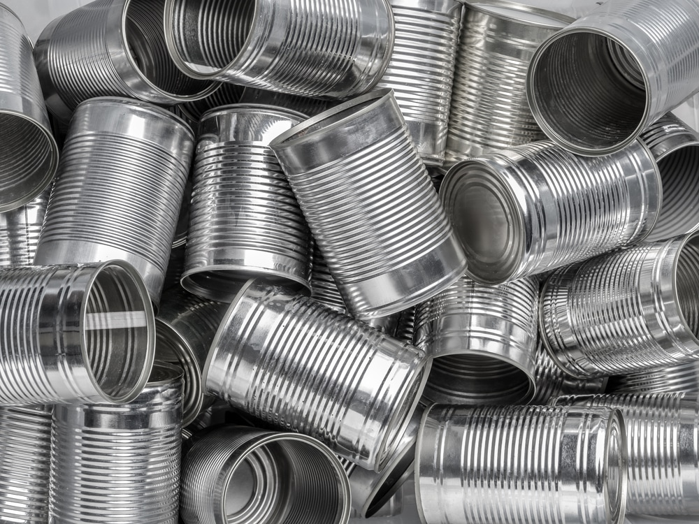 Pile of tin cans without labels