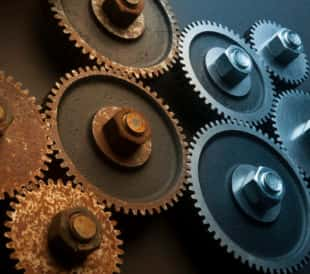 old and new gears
