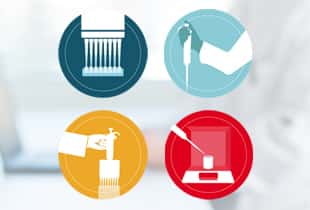 4 multicolored pipetting icons