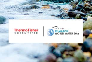 Image of water on a rocky beach with an overlay of the logos of UN World Water Day and Thermo Scientific side by side.
