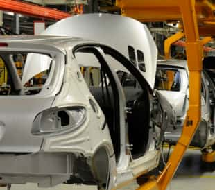 car assembly line with adhesive curing