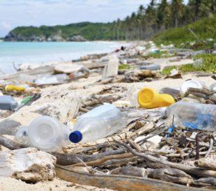 Plastics on a beach