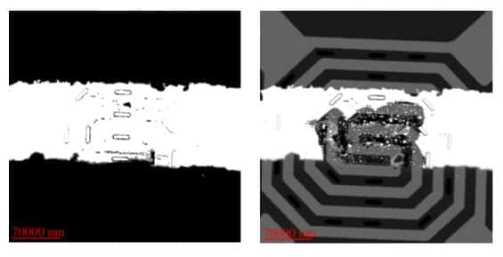 Thin metal film on a MEMS-based heater, imaged before and after dewetting