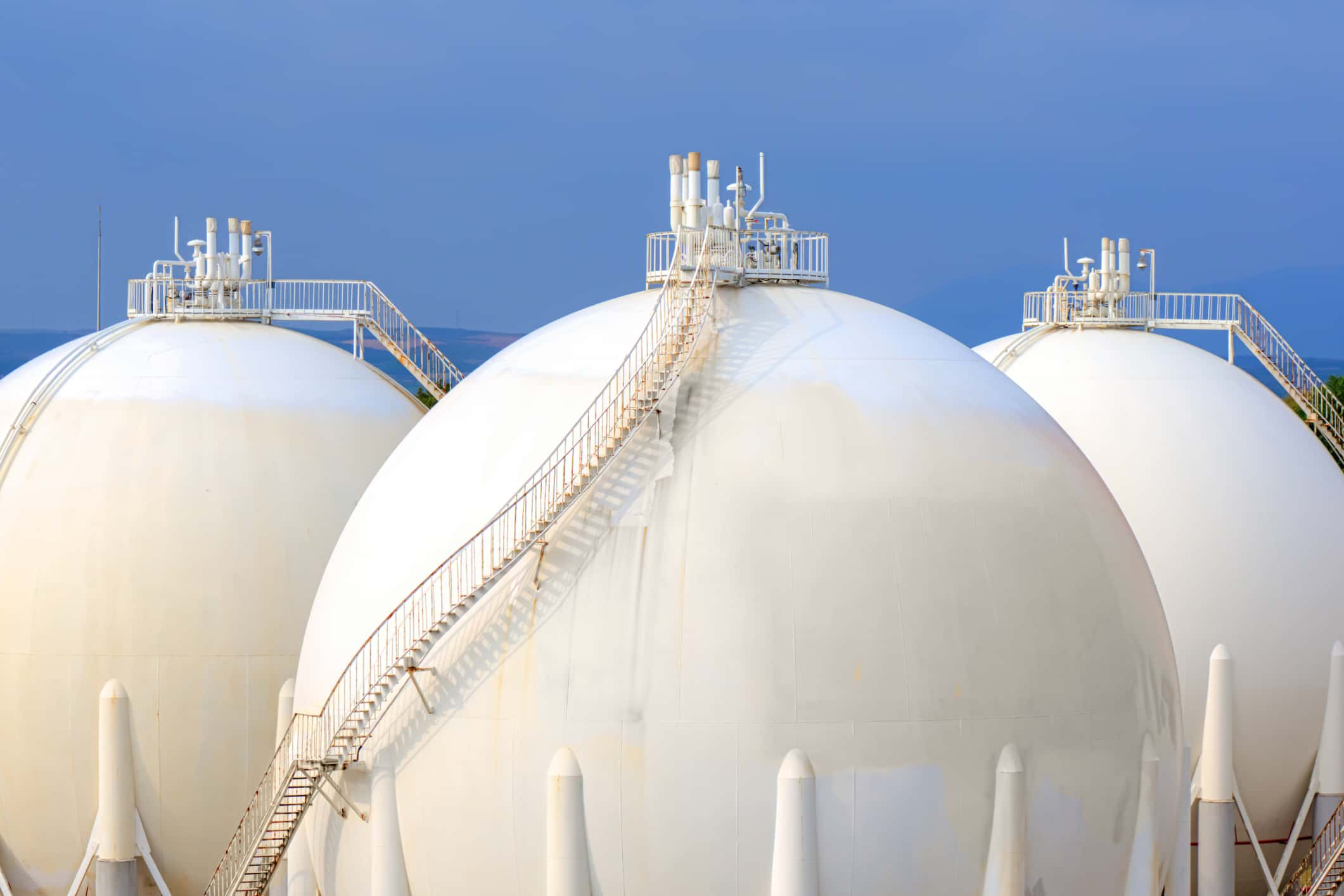 Sphere gas tanks on Petrochemical Plant