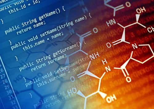 Program code and chemical formula. Image: isak55/Shutterstock.com