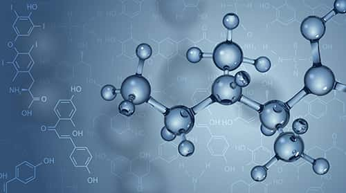 Vector background. Molecules and chemical formulas. Image: Yevhen Tarnavskyi/Shutterstock.com.