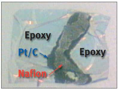 K-Alpha optical image of ULAM-prepared MEA fuel cell sample