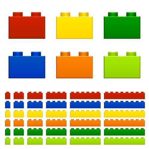 Colour organised bricks