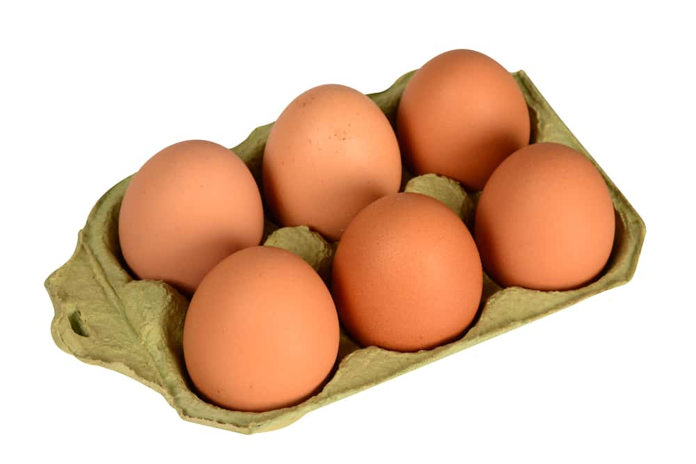 Brown eggs in brown carton, isolated on a white background