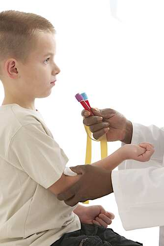 Young child giving a blood sample. Image: JPC-PROD/Shutterstock.com