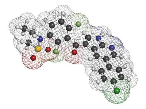 Vemurafenib molecule. Image: molekuul.be/Shutterstock.com