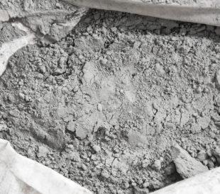 Cement powder in white bag