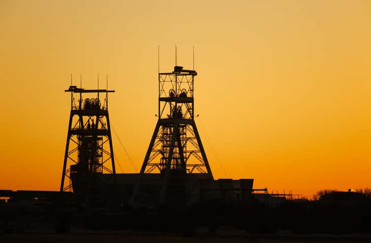 Gold platinum mine head gear in Johannesburg South Africa