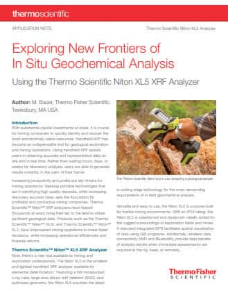 Exploring New Frontiers of In Situ in situ geochemical analysis with xrf Analysis.