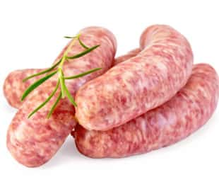 Raw pork sausages with a sprig of rosemary, isolated on a white background