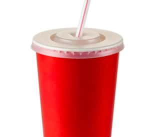 Red soft drink cup, isolated on a white background