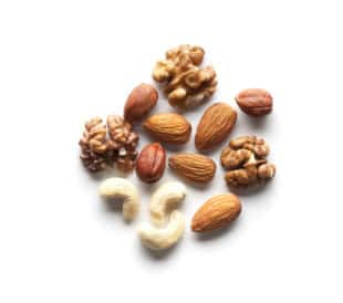 Assorted nuts, isolated on a white background