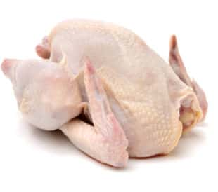 Raw hen, isolated on a white background