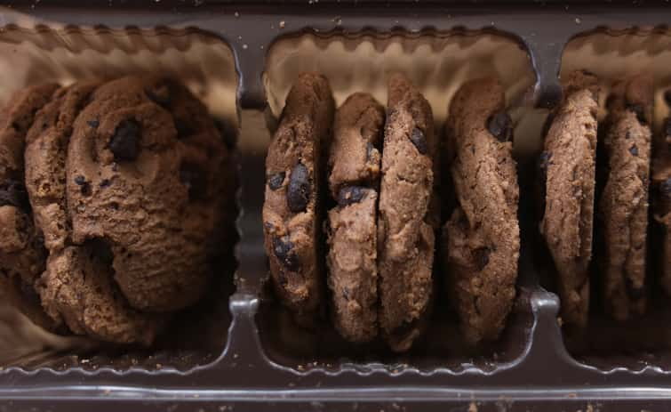Packaged chocolate chip cookies viewed from above.