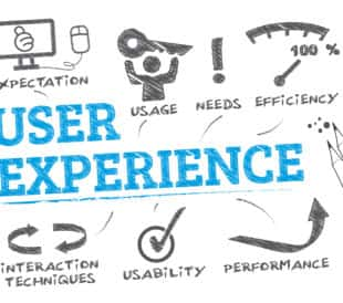 A graphic shows elements of user experience (UX) as words and drawings