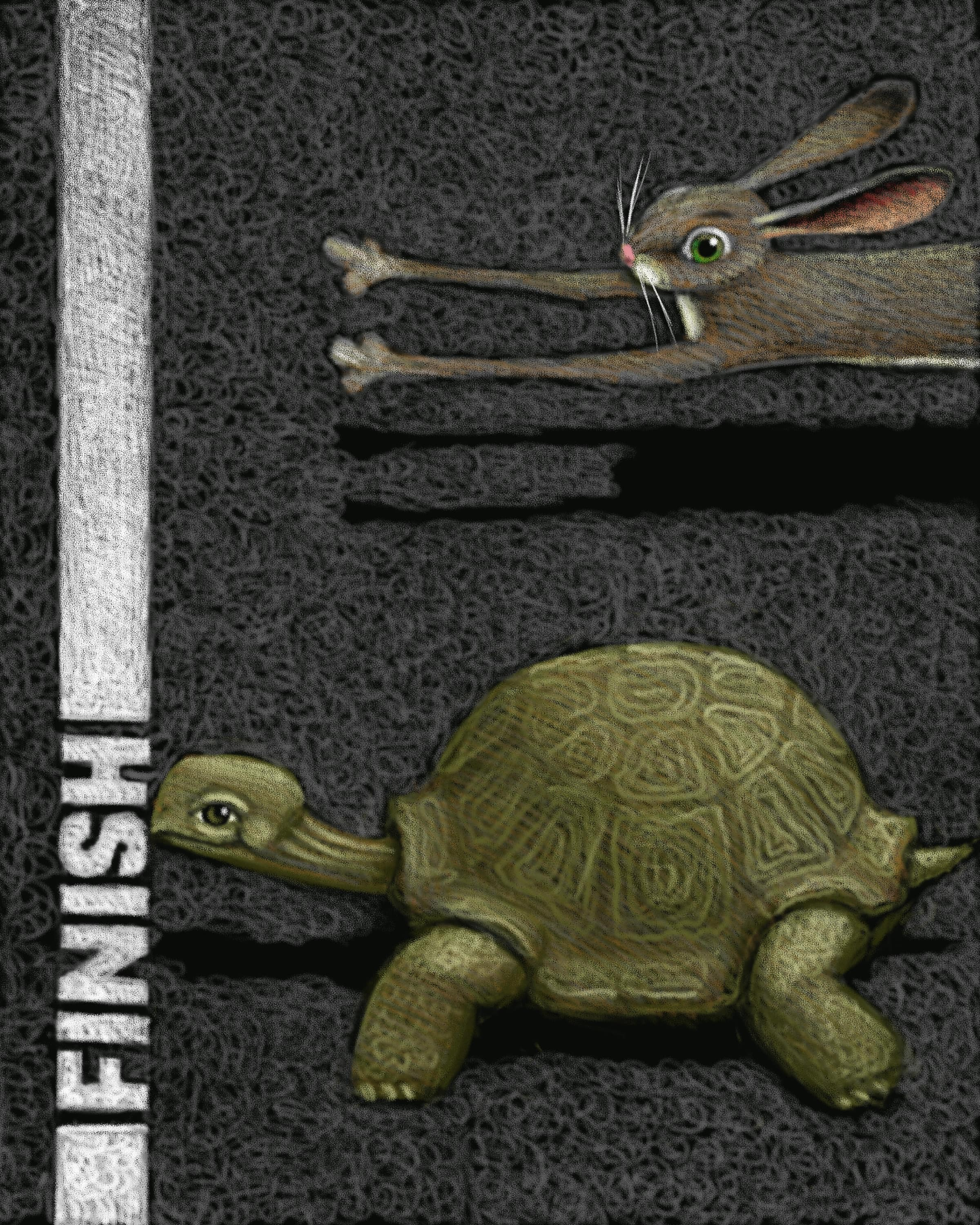 A hare (rapidly mutating Y-STR loci) and a tortoise (slowly mutating Y-STR lociapproach a finish line, with the tortoise in the lead.