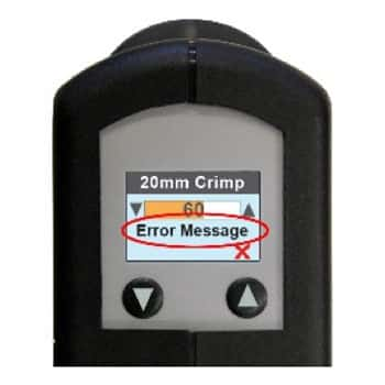 Electronic crimper message window error message