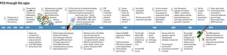 a graphical timeline of the history of PCR