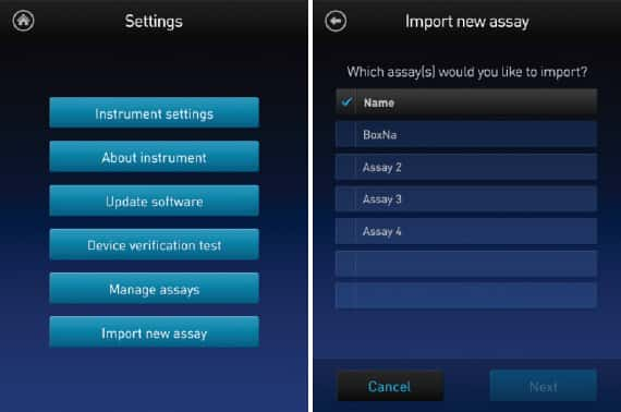 two-panel screenshot series showing how to import a new assay to the instrument