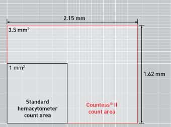 graphic showing larger counting area of Countess II FL compared to hemocytometers