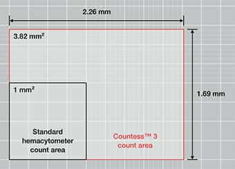 Graphic image depicting the area of a typical standard hemocytometer and the area counted by the Countess 3 Cell counter which is significantly larger