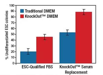 Bar graph showing the percent undifferentiated mouse ESCs observed when cultured in various combinations of traditional and KnockOut DMEM and ESC-qualified FBS and KnockOut SR. Highest percentage of undifferentiated was achieved with the KnockOut DMEM plus KnockOut Serum Replacement combination.