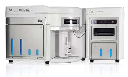Photograph of the Attune® NxT Acoustic Focusing Cytometer and the Attune® NxT Autosampler