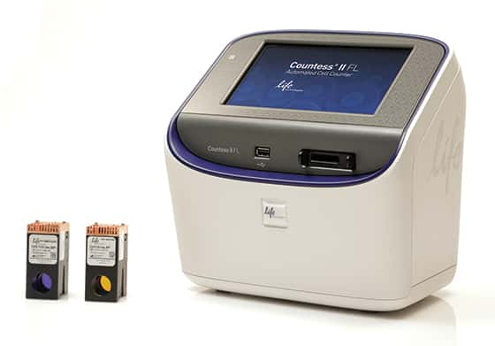 Photo of the Countess® II FL Automated Cell Counter and light cubes