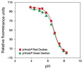pH response profile response graph of pHrodo Red and pHrodo Green dextrans