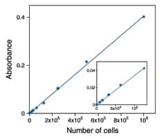 Line graph showing quantification of cell numbers of Jurkat cells using the Vybrant® MTT Cell Proliferation Assay Kit