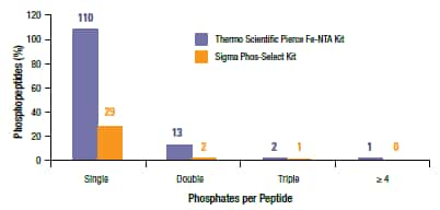 The Thermo Scientific Pierce Fe-NTA Phosphopeptide Enrichment Kit effectively captures phosphopeptides with multiple phosphates.