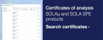 Certificates of analysis — SOLAµ and SOLA SPE products — Search certificates